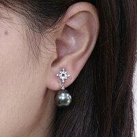 真珠パール6月誕生石イヤリングタヒチ黒蝶真珠ブラックパール直径11mmダイヤモンド24石合計0.16ctK18WGホワイトゴールド