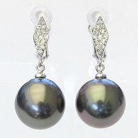 真珠パール6月誕生石イヤリングタヒチ黒蝶真珠ブラックパール直径11mmダイヤモンド26石合計0.16ctK18WGホワイトゴールド