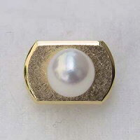 メンズ:あこや本真珠:K18:ゴールド:タイタック:ピンクホワイト系:7-8mm