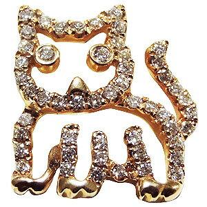 メンズブローチ 猫 男性用 ねこ ピンズ キャット ラベルピン ダイヤモンド K18 メンズジュエリー