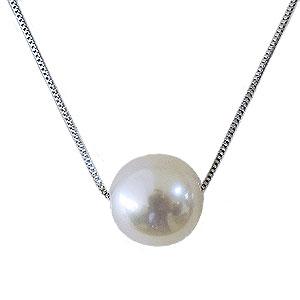 真珠 パール スルーネックレス あこや本真珠 7-7.5mm ホワイトゴールド K10WG