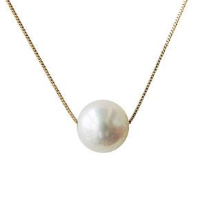 真珠 パール スルーネックレス あこや本真珠 7-7.5mm イエローゴールド K10YG