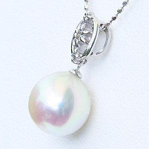 真珠 パール ペンダントトップ あこや本真珠 8.5mm K18WG ホワイトゴールド ダイヤモンド 0.05ct