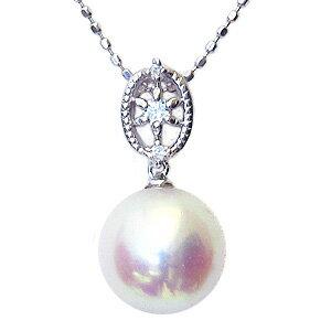 真珠 パール ペンダントトップ あこや本真珠 9mm アコヤ K18WG ホワイトゴールド ダイヤモンド