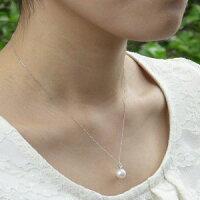 真珠パール:ペンダント:あこや本真珠:アズキチェーン:6月の誕生石:ムーンストーン