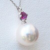 真珠パールペンダントネックレスあこや本真珠アズキチェーン7月の誕生石ルビーK18WGホワイトゴールド【RCP】