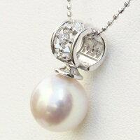 6月誕生石ネックレスペンダントあこや真珠パールホワイトゴールドネックレスダイヤモンド
