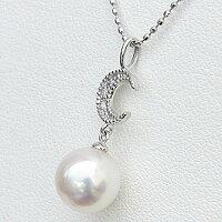 真珠パールペンダントあこや本真珠K18WGホワイトゴールド真珠の直径8mmピンクホワイト系ダイヤモンド3石0.02ctペンダント6月の誕生石