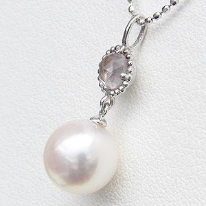 真珠 パール ペンダント あこや本真珠 PT900 プラチナ 真珠の直径8mm ピンクホワイト系 ローズクオーツ ペンダントトップ