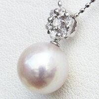 パールペンダントネックレス本真珠大珠9mmダイヤモンド0.12ctホワイトゴールド【RCP】