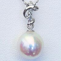 パール真珠ペンダントあこや本真珠直径8.5mmアコヤダイヤモンド0.03ctK18WGホワイトゴールド
