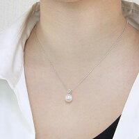 真珠パール6月誕生石ペンダントヘッドあこや本真珠直径8.5mmペンダントトップアコヤダイヤモンド0.04ctK18WGホワイトゴールド
