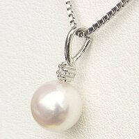 ネックレスペンダントあこや真珠パールK18ホワイトゴールドネックレスダイヤモンド