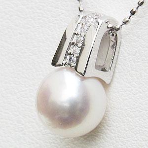 ネックレスペンダント あこや真珠パール K18ホワイトゴールドネックレス ダイヤモンド