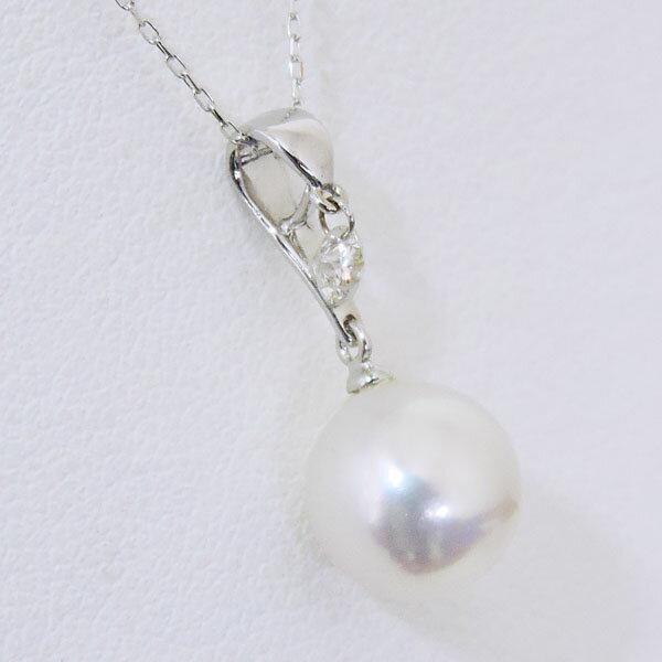 ペンダントネックレス レーザーホール加工ダイヤモンド オーロラ花珠あこや本真珠 8mm ダイヤモンド K18ホワイトゴールド レディース