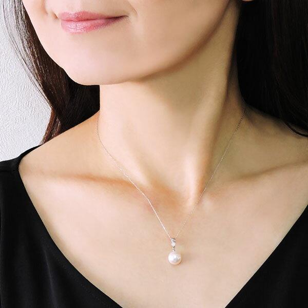 ペンダントネックレス レーザーホール加工ダイヤモンド オーロラ花珠あこや本真珠 9mm ダイヤモンド K18ホワイトゴールド レディース