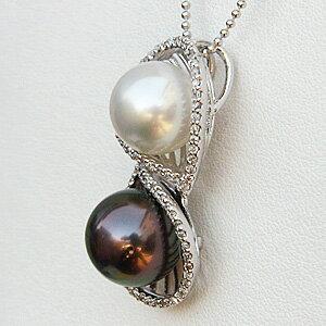 南洋白蝶真珠 タヒチ黒蝶真珠 マルチカラーパール ダイヤモンド ペンダントトップ K18ホワイトゴールド 10mm