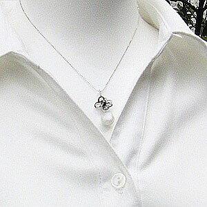 パール 南洋白蝶真珠 10mm ペンダントトップ K18WG ホワイトゴールド ブラックダイヤモンド