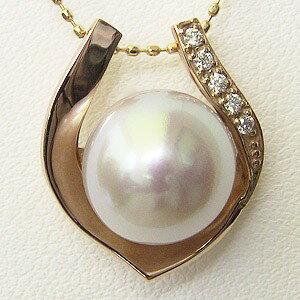 南洋白蝶真珠 ペンダントトップ(ヘッド) ダイヤモンド パール ピンクホワイト系 10mm K18PG ピンクゴールド