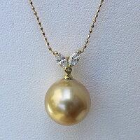 南洋白蝶真珠:パールペンダントトップ:ダイヤモンド:ペンダントヘッド:ゴールド系:12mm:マーキスダイヤ:0.20ct