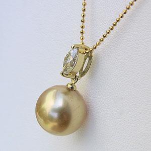 パールペンダントトップ ペンダントヘッド 南洋真珠 ゴールデンパール K18 ゴールド ダイヤモンド