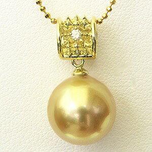 南洋白蝶真珠 ペンダントトップ(ヘッド) ダイヤモンド パール ゴールド系 11mm K18 ゴールド