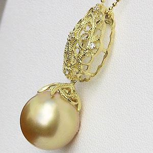 真珠 パール 南洋白蝶真珠 ゴールデンパール 12mm ペンダントトップ K18 ゴールド