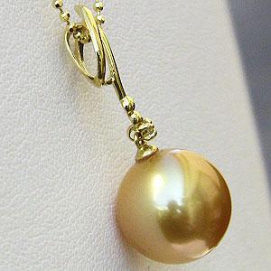 真珠 パール ペンダント ネックレス 南洋白蝶真珠 10mm K18 ゴールド チェーン付