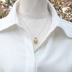 ネックレスペンダント 南洋真珠パール ホワイトゴールドネックレス ダイヤモンド