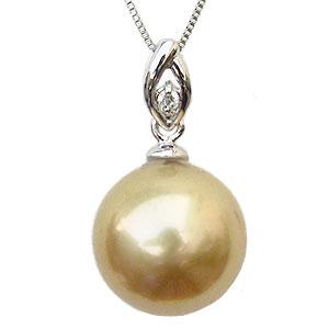 ゴールデンパール ペンダントトップ 真珠 10mm 南洋白蝶真珠 ダイヤモンド 0.01ct K18 ホワイトゴールド シンプル【RCP】