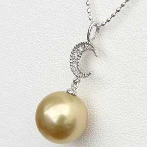 ペンダントトップ ネックレス 南洋真珠 ゴールドパール ホワイトゴールド 月 ムーン ダイヤモンド ジュエリー