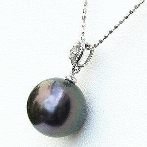 真珠 パール ペンダントトップ タヒチ黒蝶真珠 10mm ホワイトゴールド ダイヤモンド