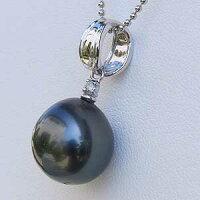 真珠:タヒチ黒蝶真珠:パール:ペンダントトップ:グリーン系:ドロップ形:11mm:ブラックパール:黒真珠