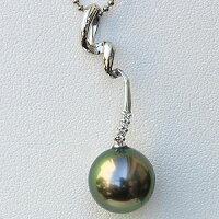 真珠:パール:ペンダントトップ:タヒチ黒蝶真珠:10mm