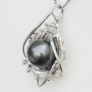 真珠 ブラックパール ペンダントトップ タヒチ黒蝶真珠 K18WG ホワイトゴールド 真珠の直径11mm グリーン系 ダイヤモンド 5石 計0.05ct ペンダントトップ