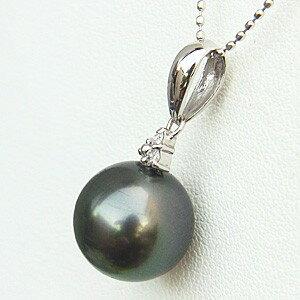 黒真珠 ペンダントトップ ネックレス パール K18 ホワイトゴールド ダイヤモンド