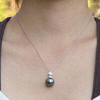 黒真珠:ブラックパール:ペンダントトップ:タヒチ黒蝶真珠:12mm:K18WG:ホワイトゴールド