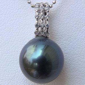 タヒチ黒蝶真珠 11mm ペンダントトップ K18WG ホワイトゴールド グリーン系 ダイヤモンド 0.10ct