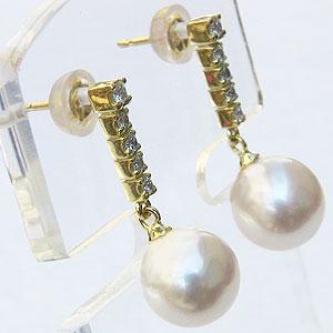 真珠 パール ピアス あこや本真珠 8.5mm K18 ゴールド ダイヤモンド