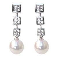 K18WGホワイトゴールド:あこや本真珠:ピアス:パール:ダイヤモンド:5mm:K18:ゴールド:スクエア