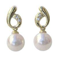 K18ゴールド:あこや本真珠:ピアス:パール:ダイヤモンド:5mm:K18:ゴールド