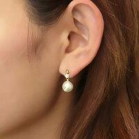 ピアスパールあこや真珠パールK18ゴールド片耳ピアスダイヤモンドパーティー