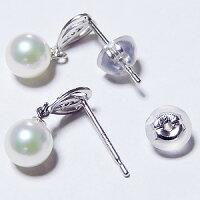 可愛いデザインのパールピアス、あこや本真珠、K18WG、ダイヤモンド、シリコンダブルロックキャッチ付、ホワイトゴールド、真珠、送料無料【RCP】