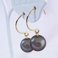 フープピアス、あこや本真珠、パープル染色、8mm、K18、ゴールド、ピアス外径12mm、6月誕生石、ジュエリー、【送料無料】【品質保証書付】【RCP】