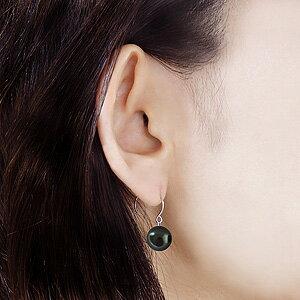 フープピアス タヒチ黒蝶真珠 10mm K18WG ホワイトゴールド ピアス外径12mm 6月誕生石 ジュエリー 【品質保証書付】
