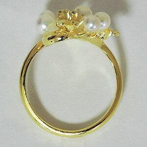 パールリング レディース 真珠の指輪 あこや本真珠 ダイヤモンド K18イエローゴールド 3.5~4mm 7個付デザイン アコヤ あこや 真珠の指輪 リング  ジュエリー 贈答 プレゼント 冠婚葬祭 結婚 ブライダル 入学 卒業 保証書付 ケース付