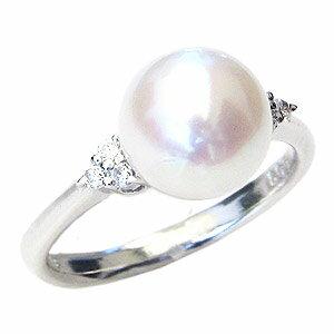 パールリング レディース 真珠の指輪 あこや本真珠 ダイヤモンド ホワイトゴールド 8.5mm アコヤ あこや 真珠の指輪 パールリング 6月誕生石 ジュエリー 贈答 冠婚葬祭 結婚 ブライダル 入学 入園 卒業 卒園 保証書付