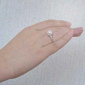 花珠真珠 パールリング 真珠指輪 花珠あこや真珠 大珠9mm 純プラチナ PT999 ダイヤモンド 0.20ct