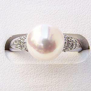 パールリング レディース 真珠の指輪 あこや本真珠 ダイヤモンド PTプラチナ ピンクホワイト系 9mm ラウンド形 アコヤ あこや 真珠の指輪 6月誕生石 ジュエリー 贈答 冠婚葬祭 結婚 ブライダル 入学 卒業 保証書付 ケース付