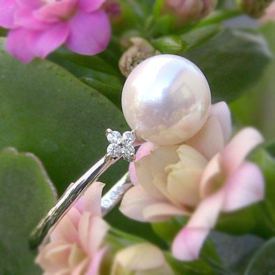 パールリング レディース 真珠の指輪 あこや真珠 ダイヤモンド PT900プラチナ ピンクホワイト系 9mm の指輪 リング パールリング 6月誕生石 贈答 プレゼント 冠婚葬祭 結婚 ブライダル 入学 入園 卒業 卒園 保証書付 ケース付